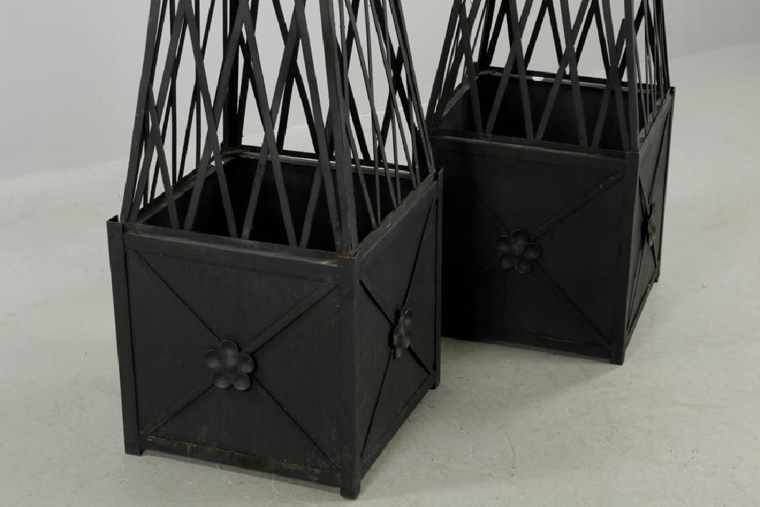Pr of of Iron Topiary, Black, Medium Size - 4