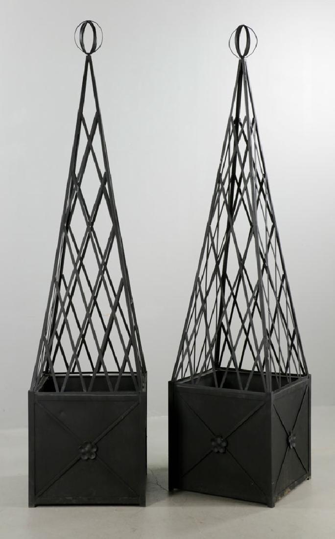 Pr of Iron Topiary, Black, Large Size - 2