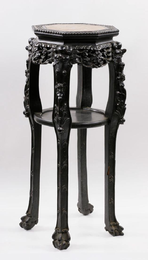 19th C. Chinese Marble-top Tabouret Table