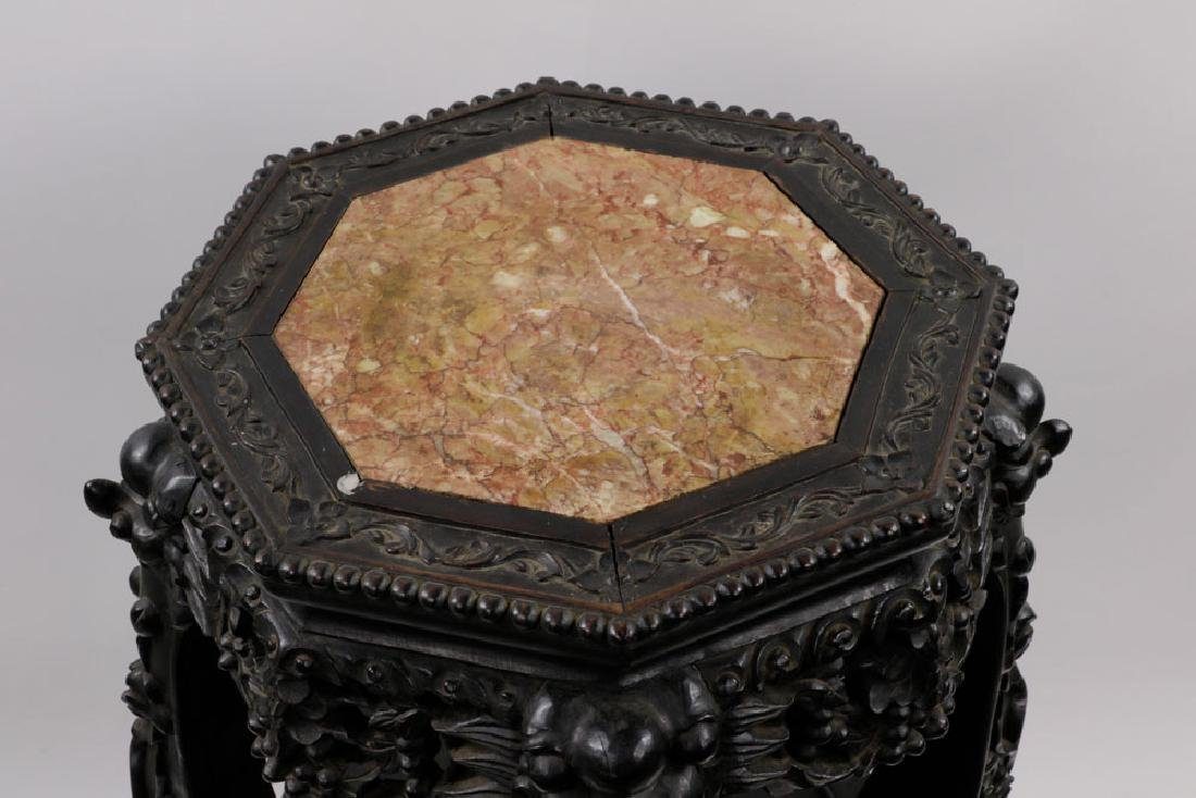 19th C. Chinese Marble-top Tabouret Table - 4