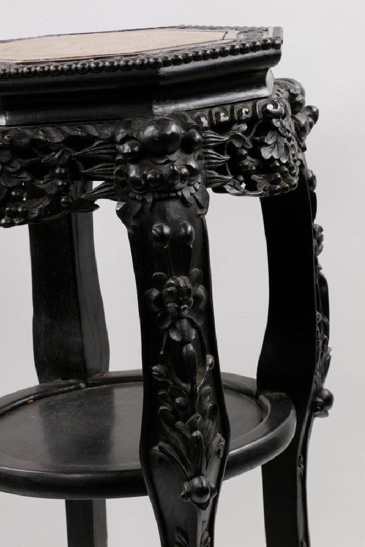 19th C. Chinese Marble-top Tabouret Table - 5