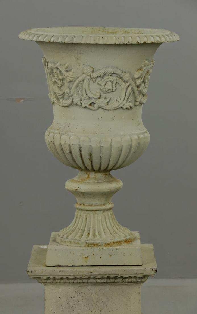 Pr of Classical Cast Iron Urns on Pedestals - 2