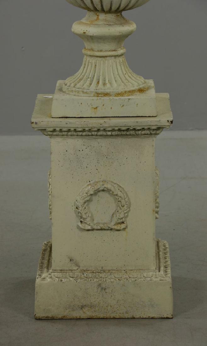 Pr of Classical Cast Iron Urns on Pedestals - 3