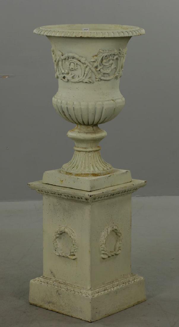 Pr of Classical Cast Iron Urns on Pedestals - 4
