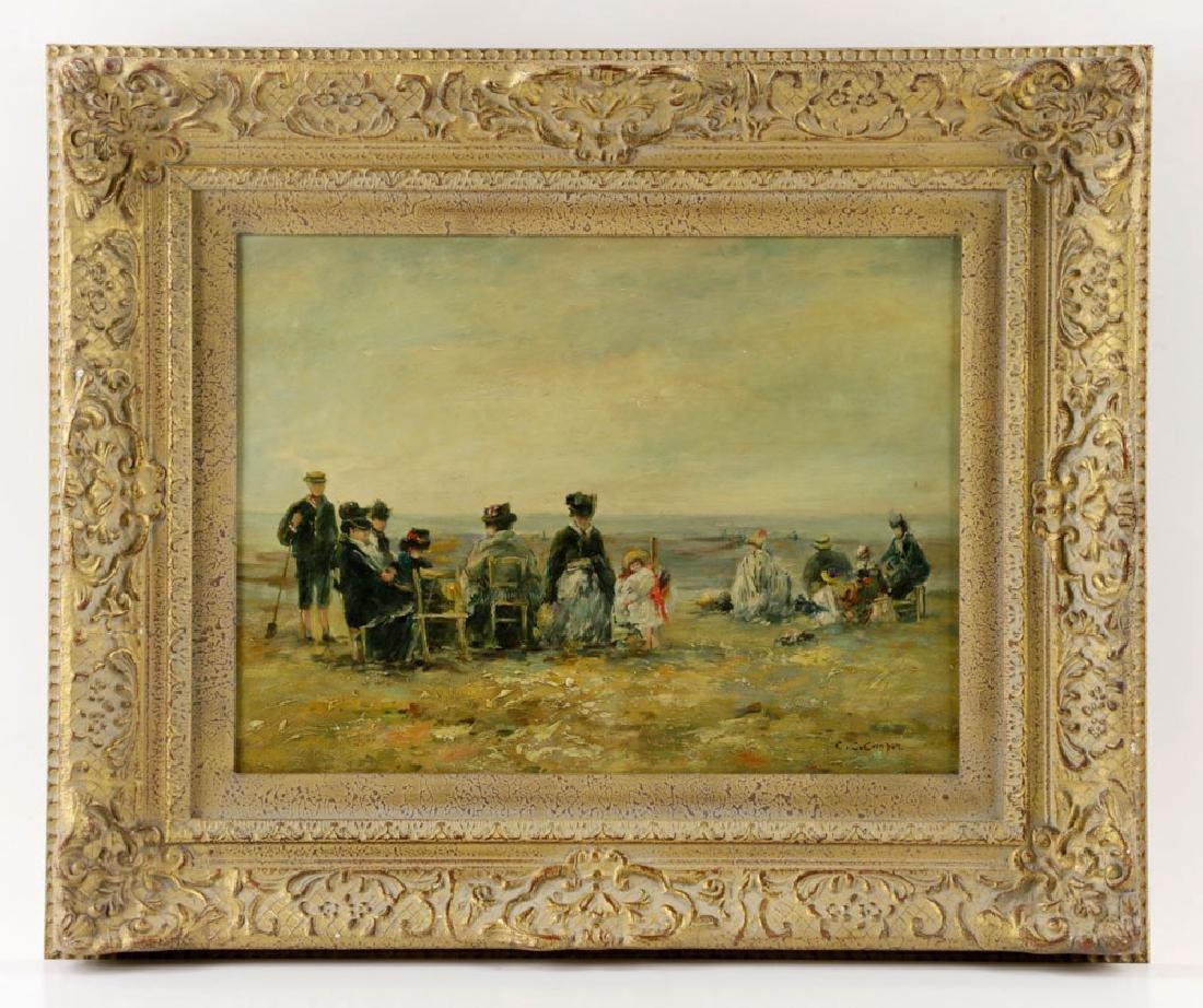 Claude Cahill Cooper, Beach Scene, Oil on Board