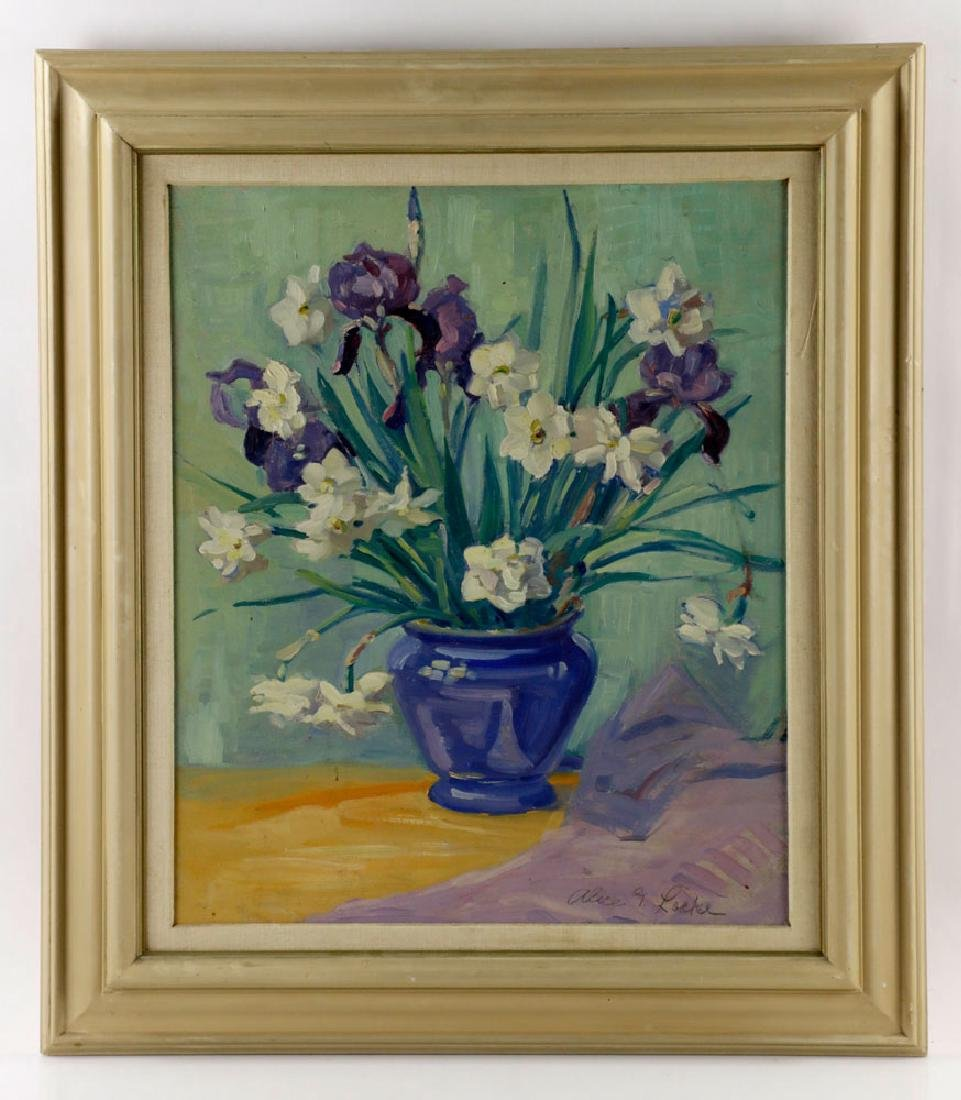 Alice G. Locke, Still Life of Flowers, Oil on Board