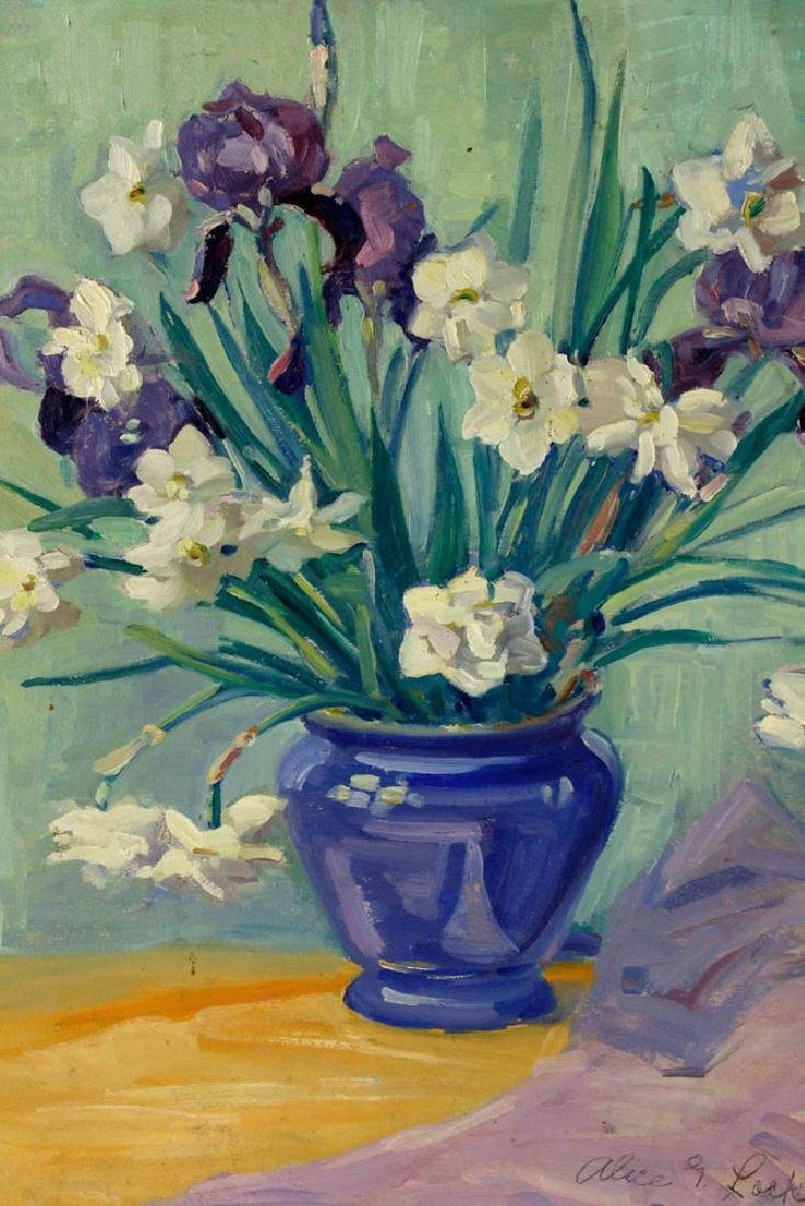Alice G. Locke, Still Life of Flowers, Oil on Board - 2