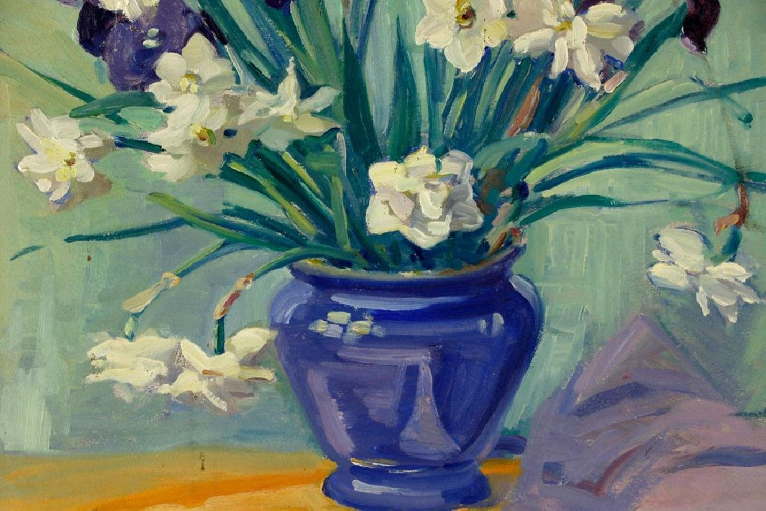 Alice G. Locke, Still Life of Flowers, Oil on Board - 4