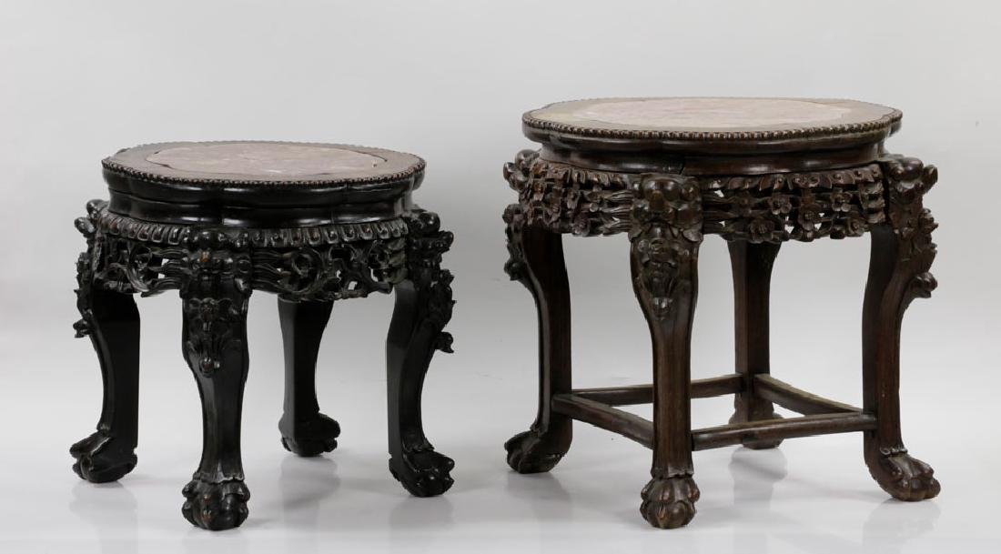 (2) 19th C. Chinese Marble-top Tables