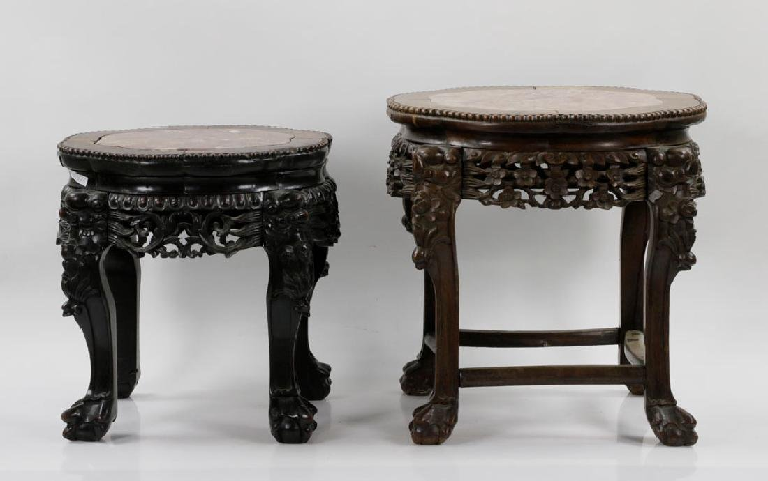 (2) 19th C. Chinese Marble-top Tables - 2