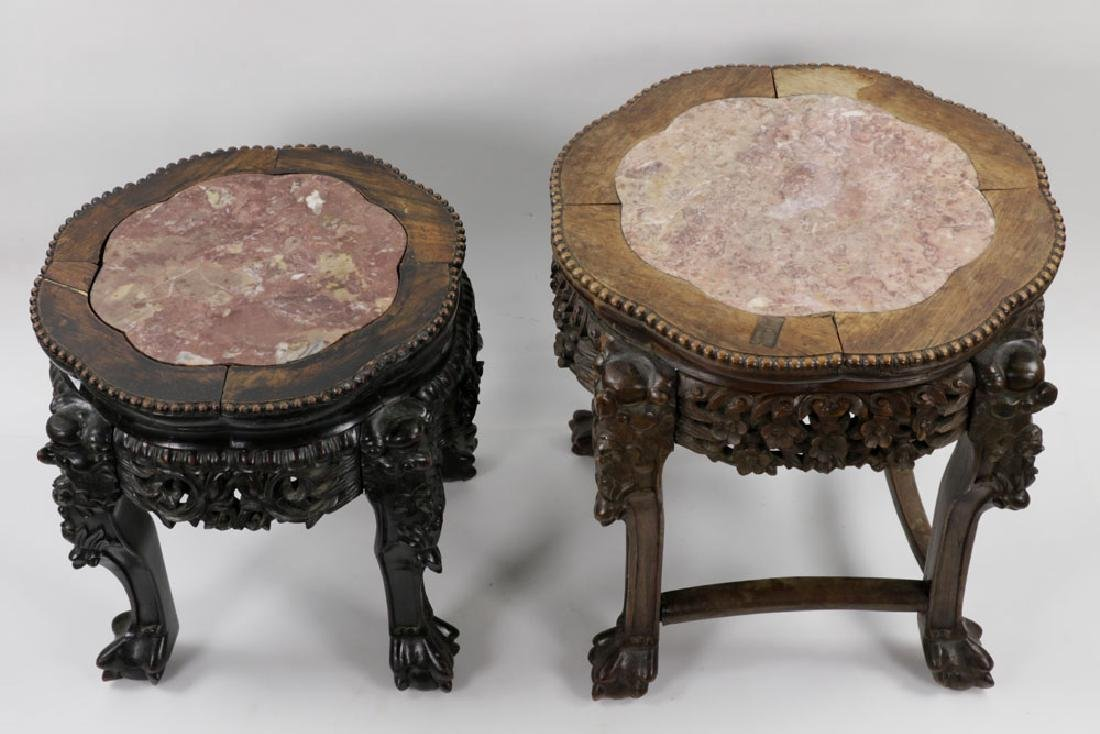 (2) 19th C. Chinese Marble-top Tables - 3