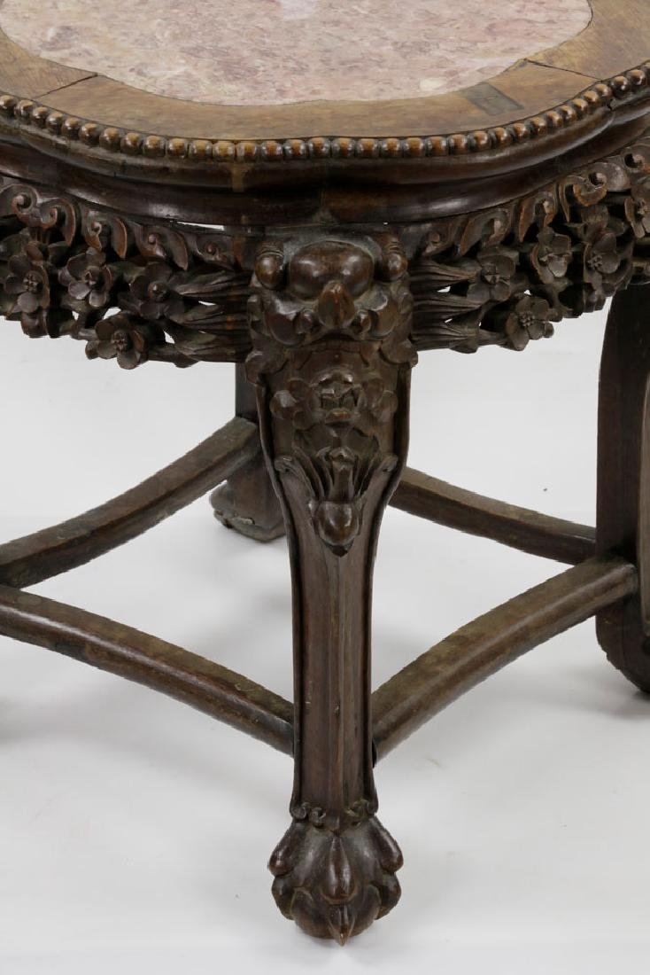 (2) 19th C. Chinese Marble-top Tables - 4