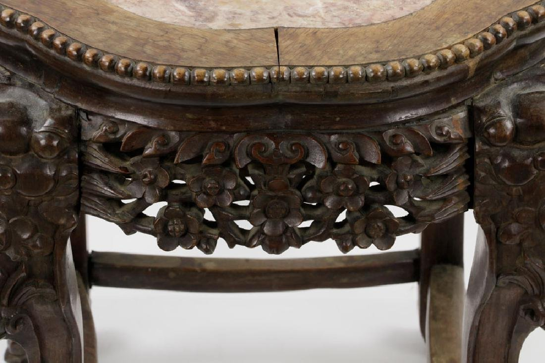 (2) 19th C. Chinese Marble-top Tables - 5