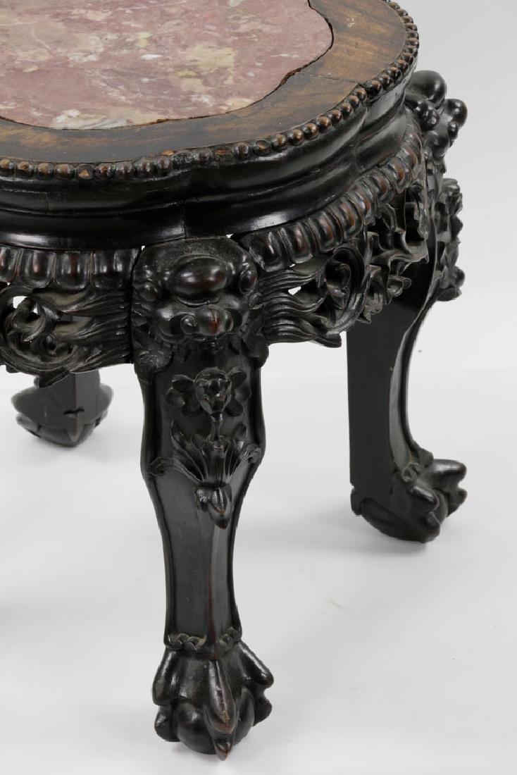 (2) 19th C. Chinese Marble-top Tables - 6