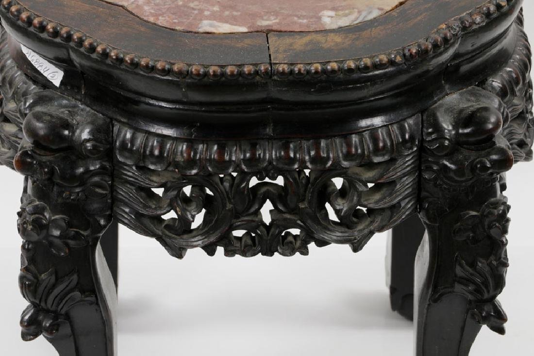 (2) 19th C. Chinese Marble-top Tables - 7