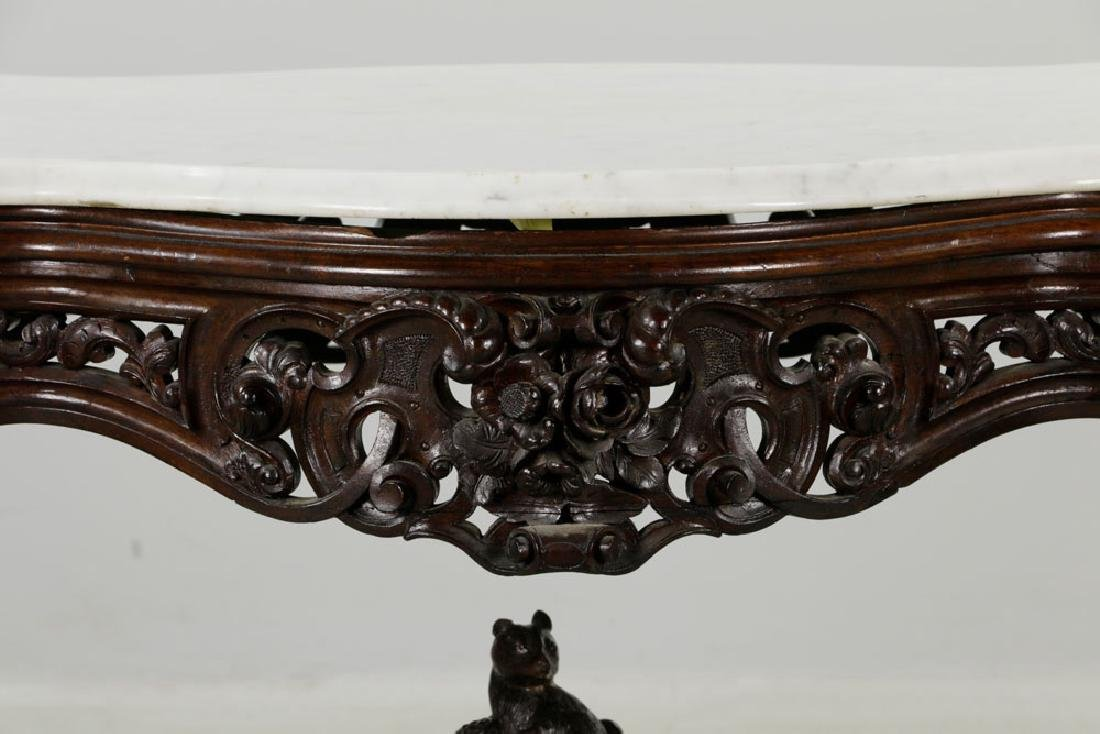 19th C. Carved Walnut Marble-Top Squirrel Table - 2