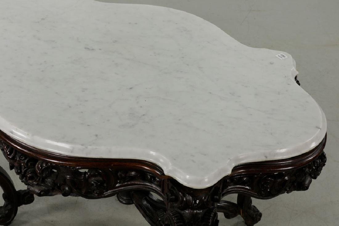 19th C. Carved Walnut Marble-Top Squirrel Table - 4