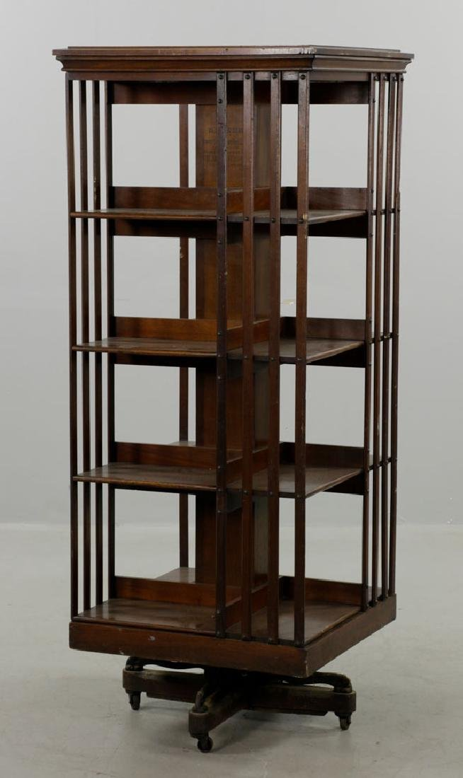 Large Revolving Bookcase Labeled Danner