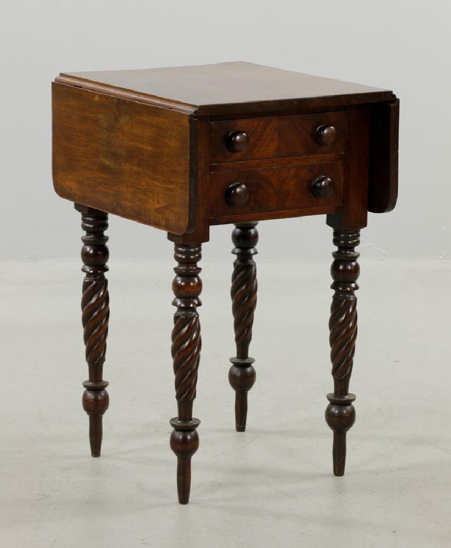 19th C. Sheraton Mahogany Drop-Leaf Stand