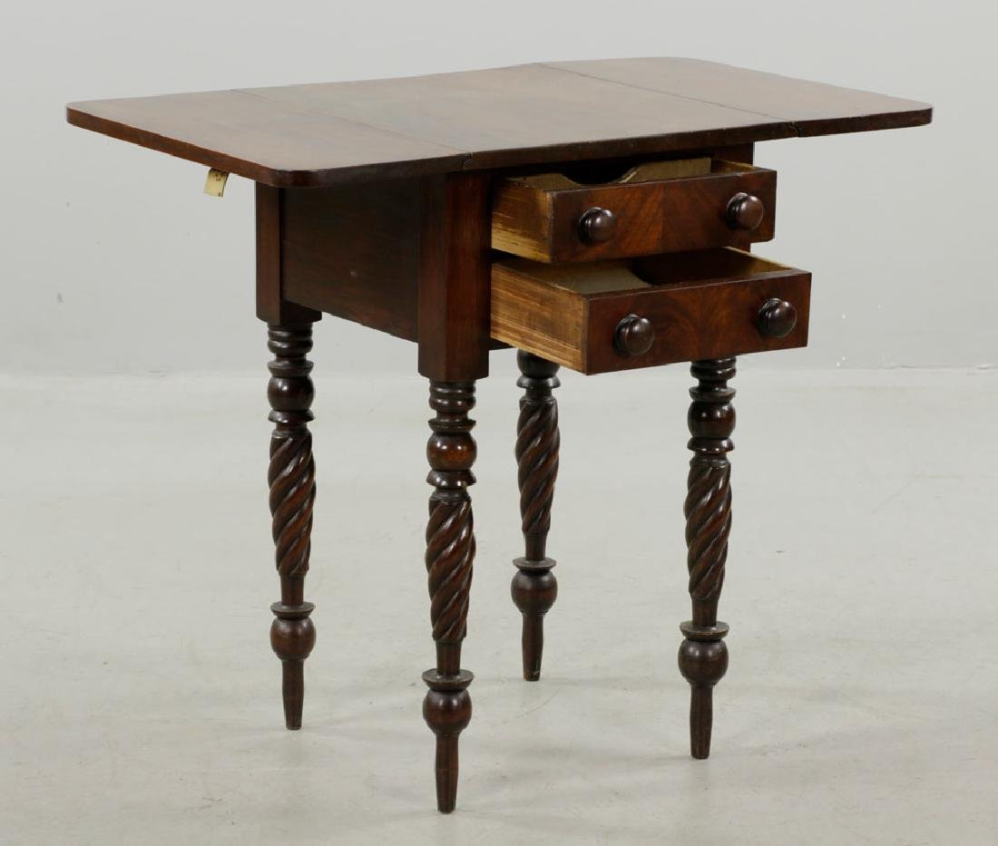 19th C. Sheraton Mahogany Drop-Leaf Stand - 2