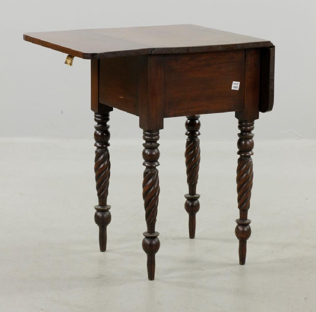 19th C. Sheraton Mahogany Drop-Leaf Stand - 3