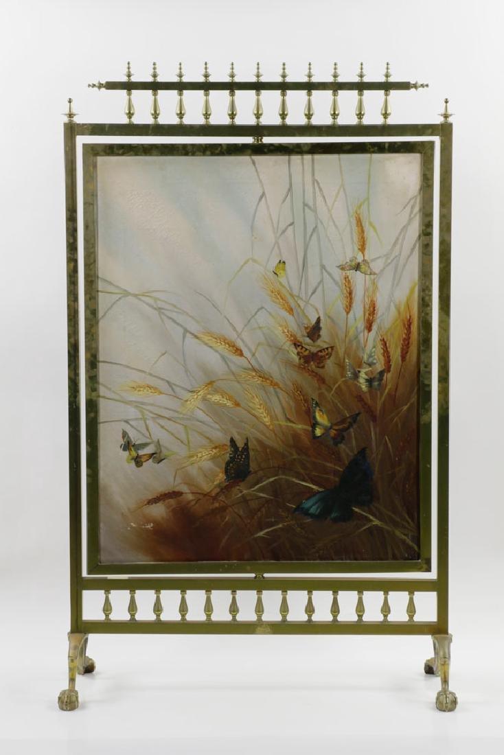19th C. Victorian Brass Fire Screen