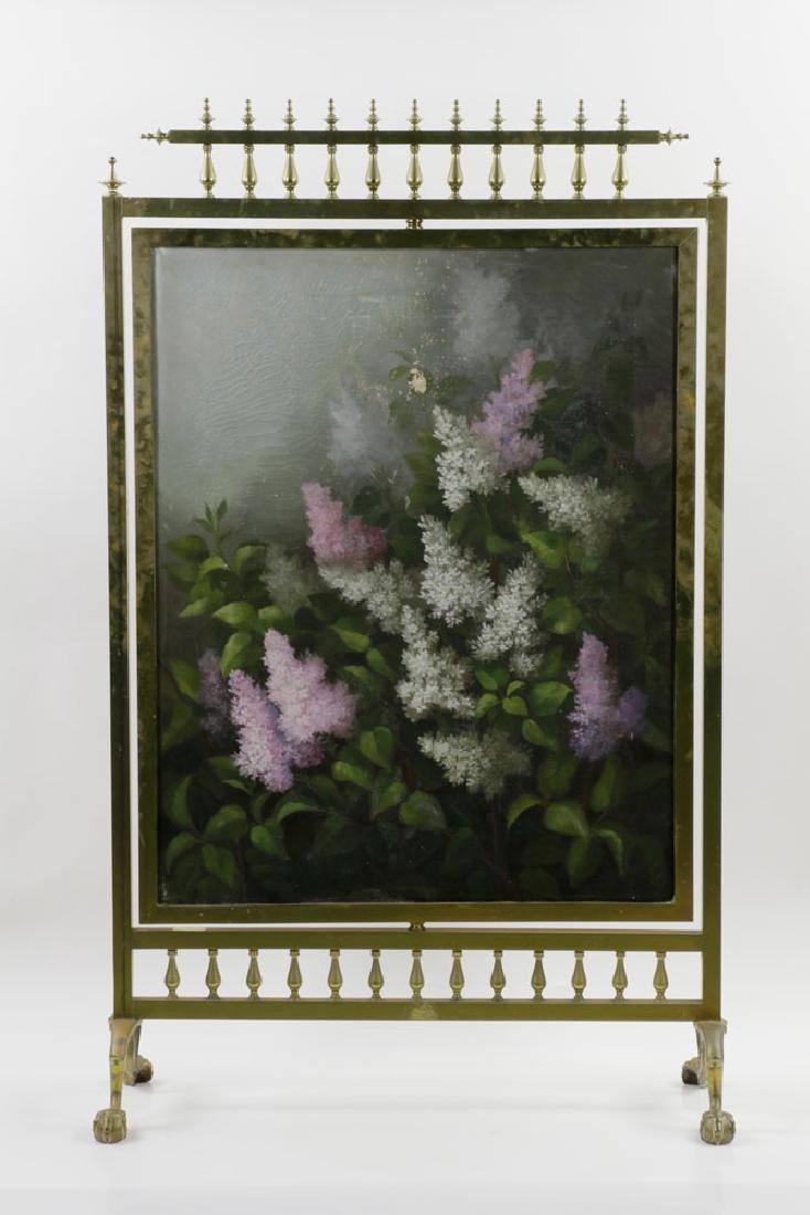 19th C. Victorian Brass Fire Screen - 2