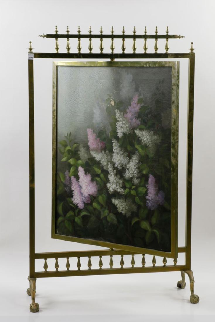 19th C. Victorian Brass Fire Screen - 4