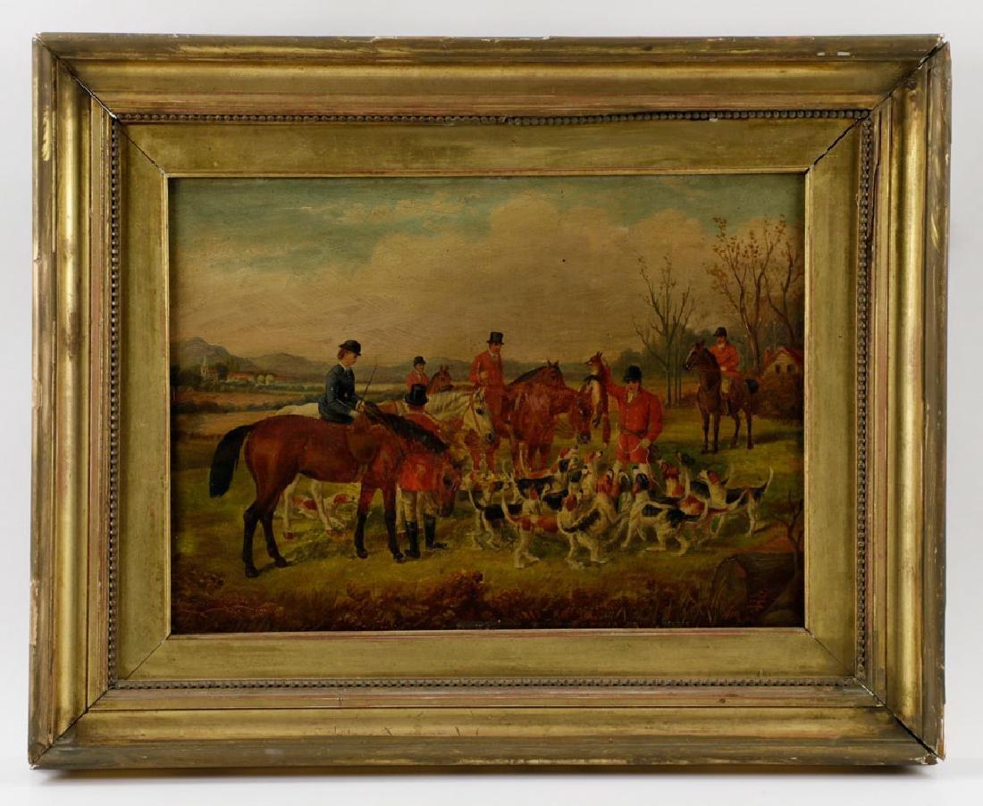 18th C. English Hunt Scene, Oil on Board