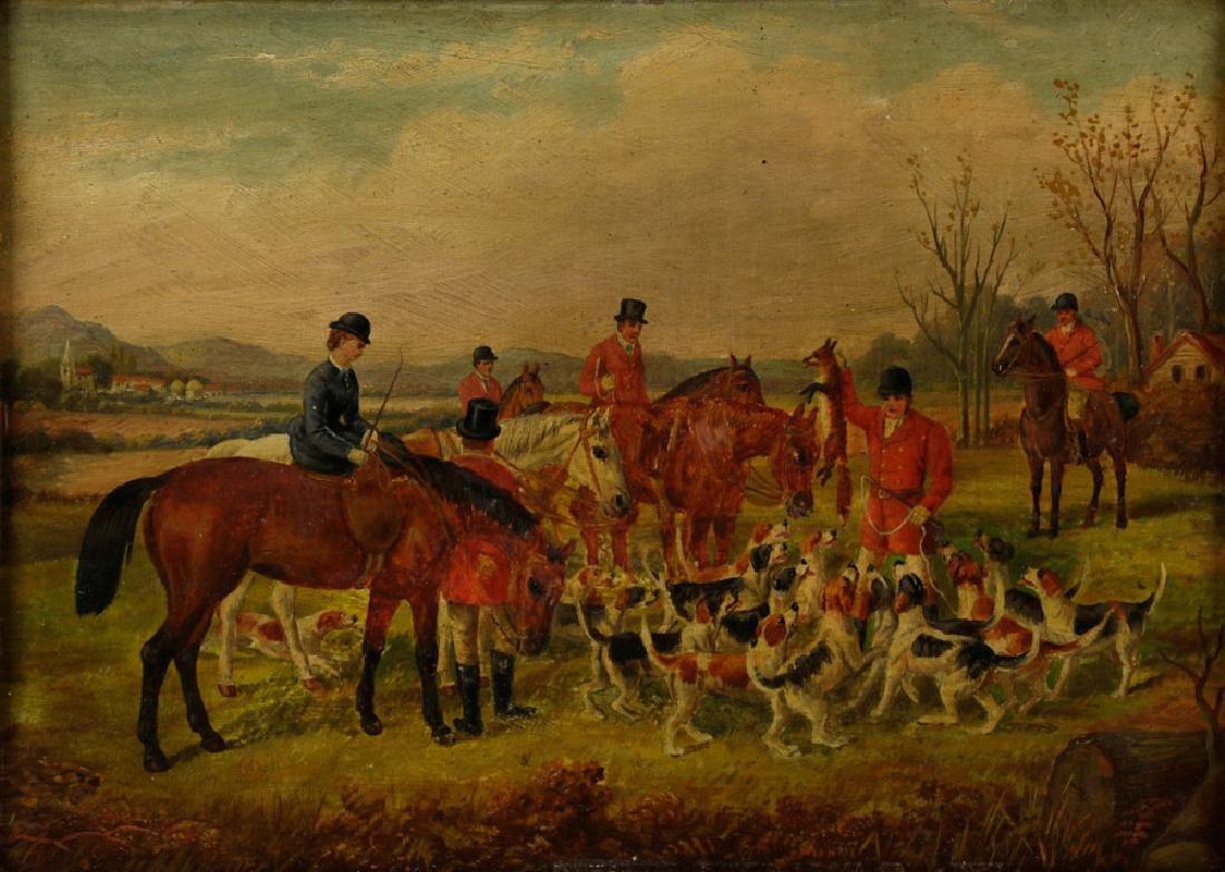 18th C. English Hunt Scene, Oil on Board - 2