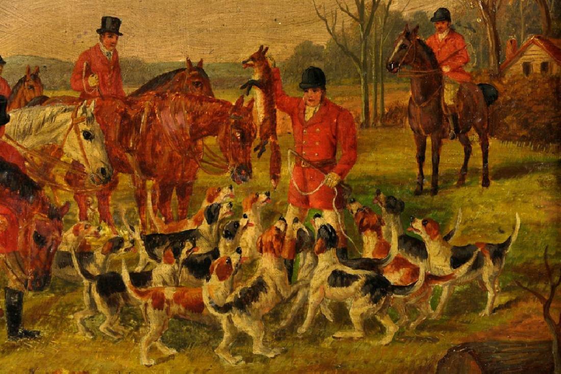 18th C. English Hunt Scene, Oil on Board - 3