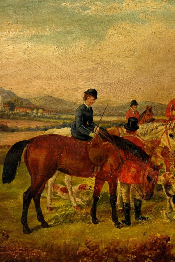 18th C. English Hunt Scene, Oil on Board - 4