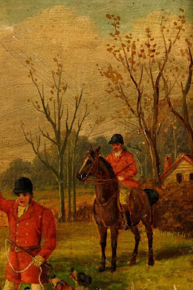 18th C. English Hunt Scene, Oil on Board - 5