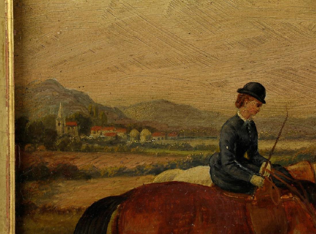 18th C. English Hunt Scene, Oil on Board - 6
