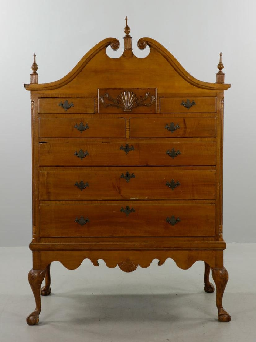 18th C. Tiger Maple Chippendale Chest on Frame