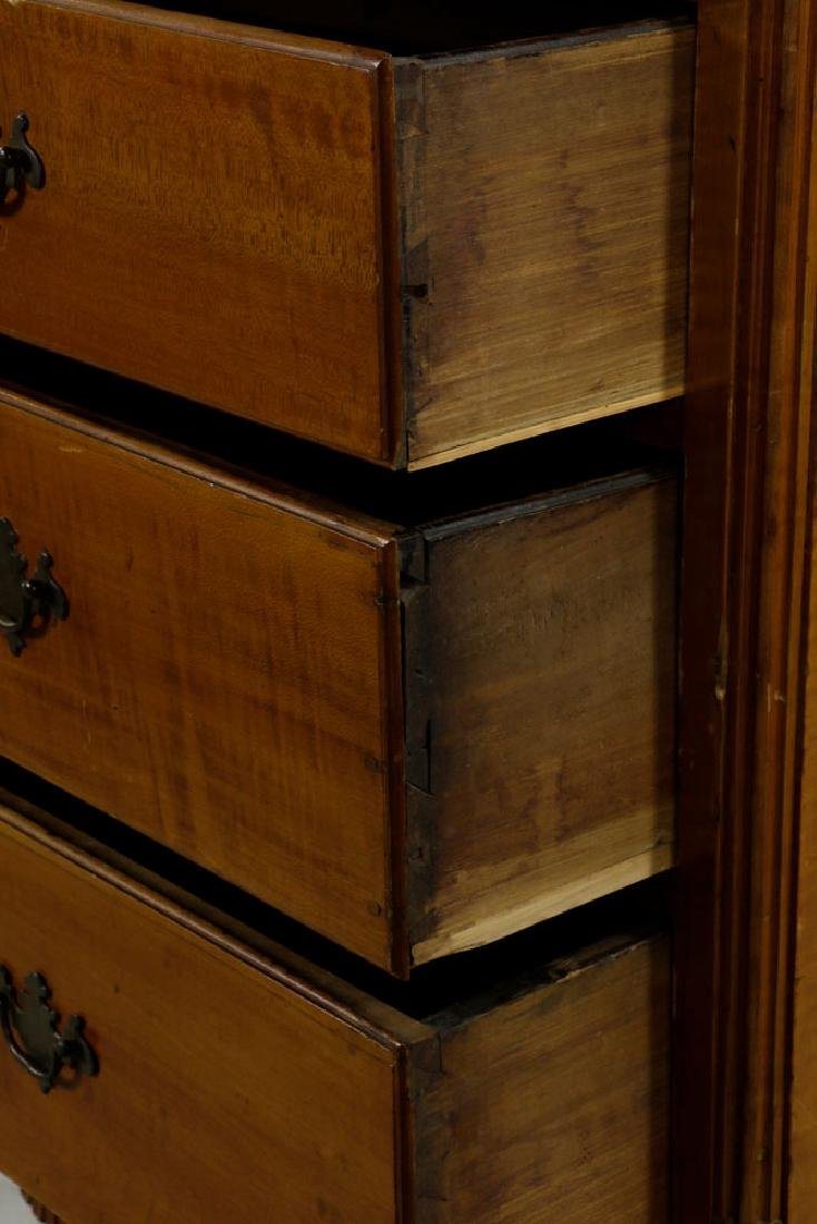 18th C. Tiger Maple Chippendale Chest on Frame - 5
