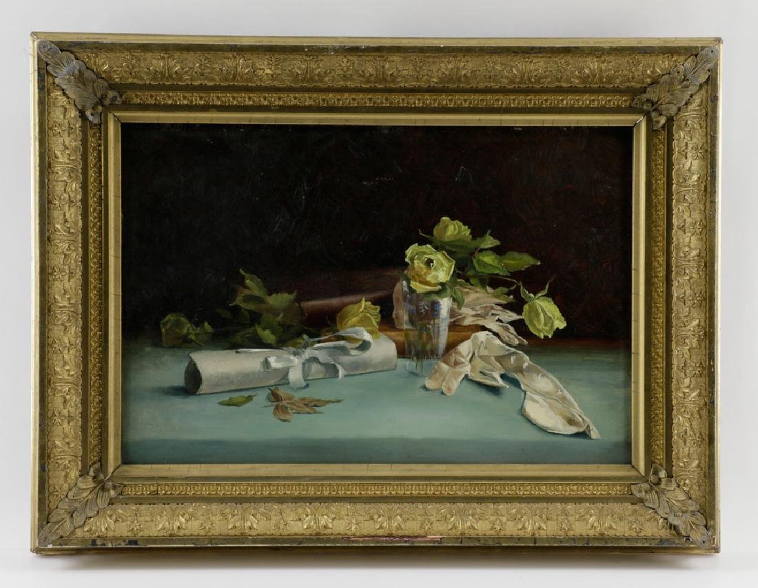 19th C. American Still Life, Oil on Board