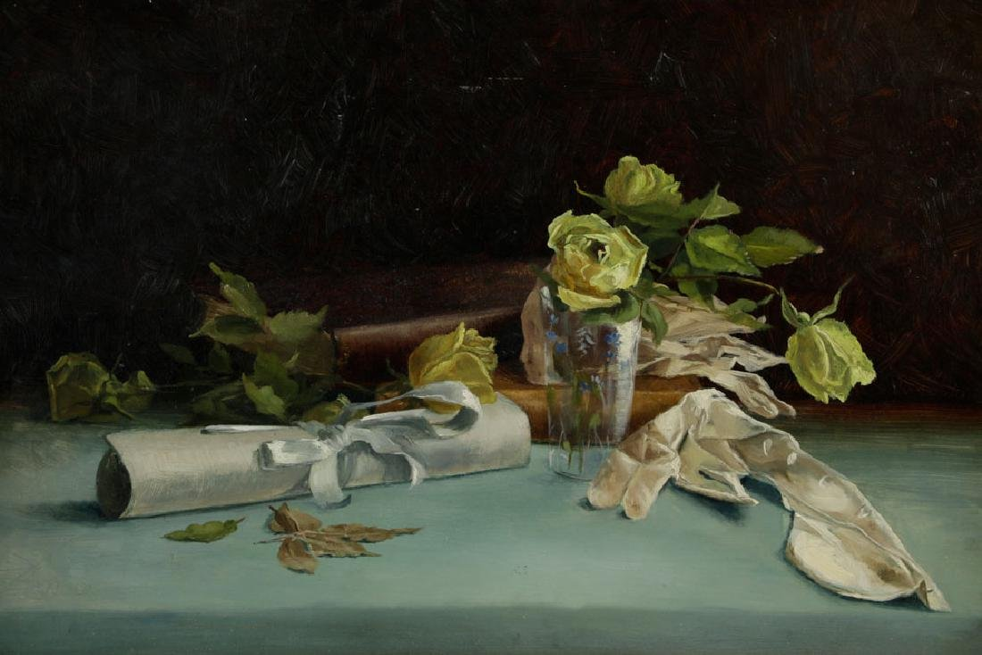 19th C. American Still Life, Oil on Board - 2