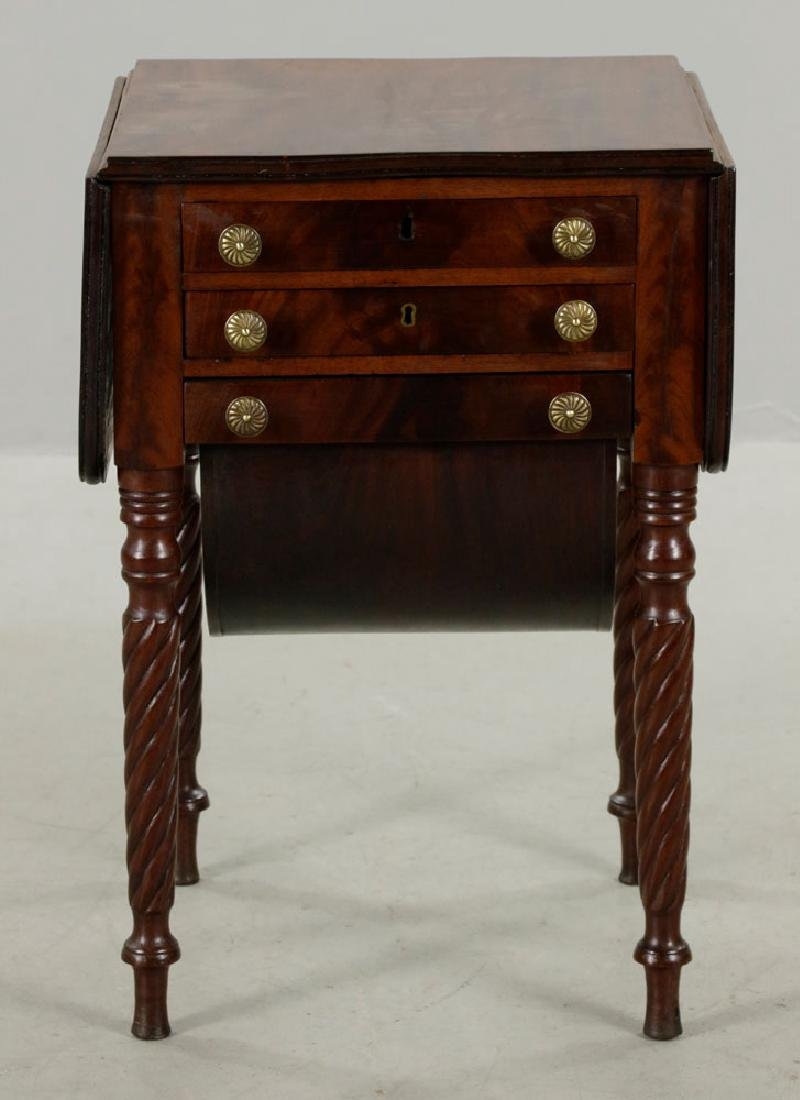 Eastern Mass. 3-Drawer Drop-Leaf Sewing Table