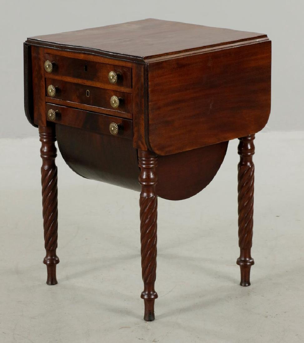 Eastern Mass. 3-Drawer Drop-Leaf Sewing Table - 2