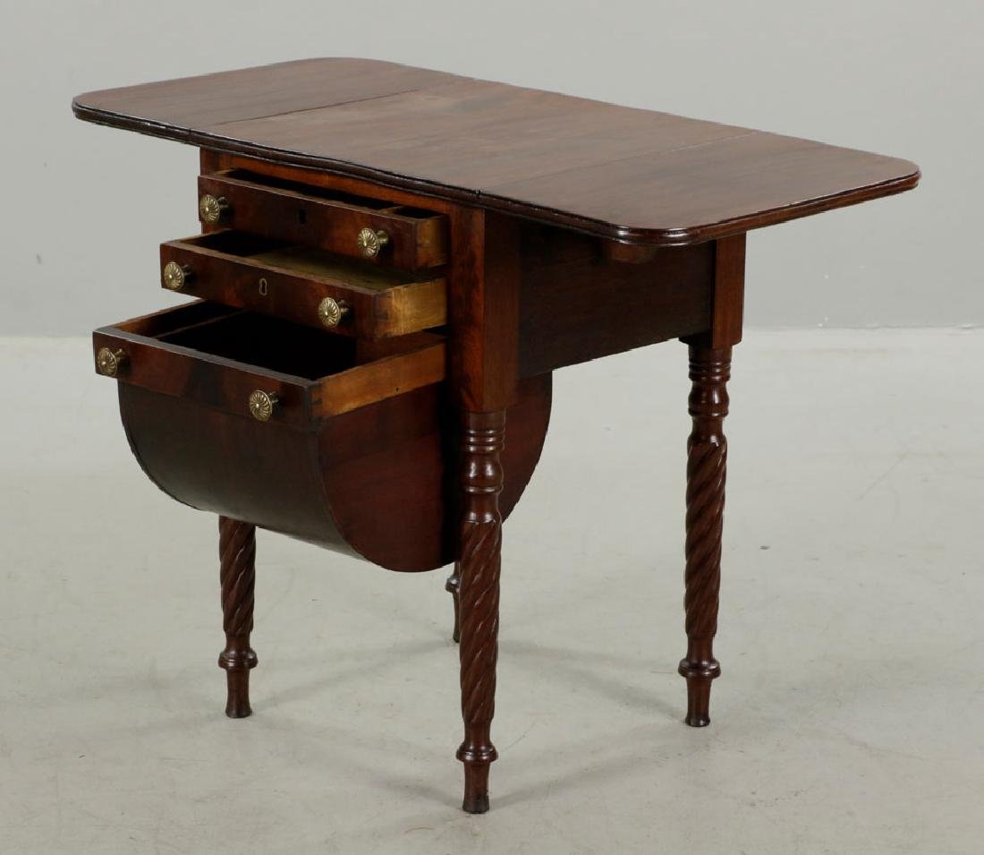 Eastern Mass. 3-Drawer Drop-Leaf Sewing Table - 3