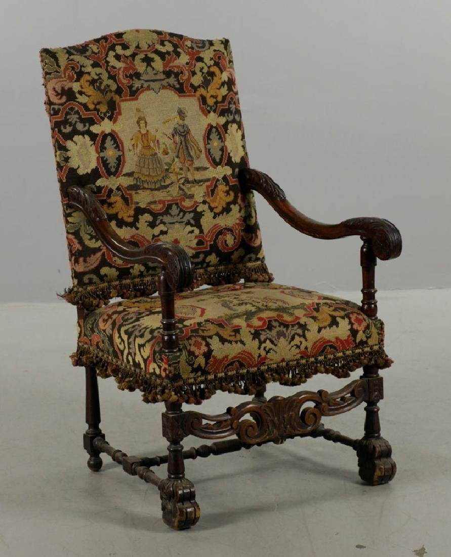 Louis XIV Style Needlepoint Lolling Chair