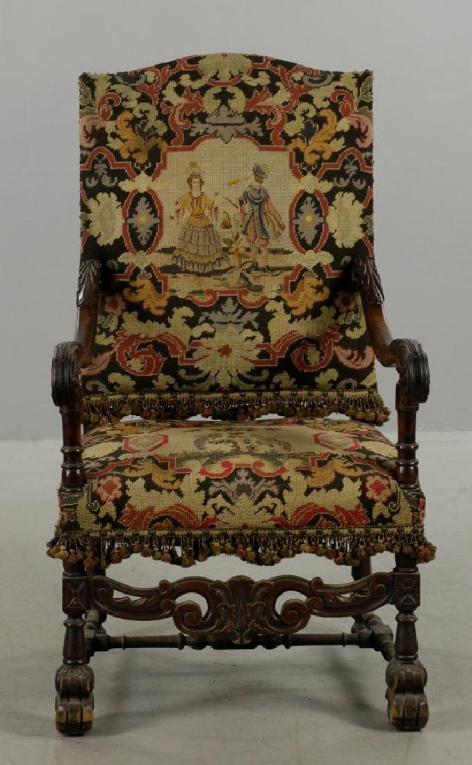Louis XIV Style Needlepoint Lolling Chair - 2