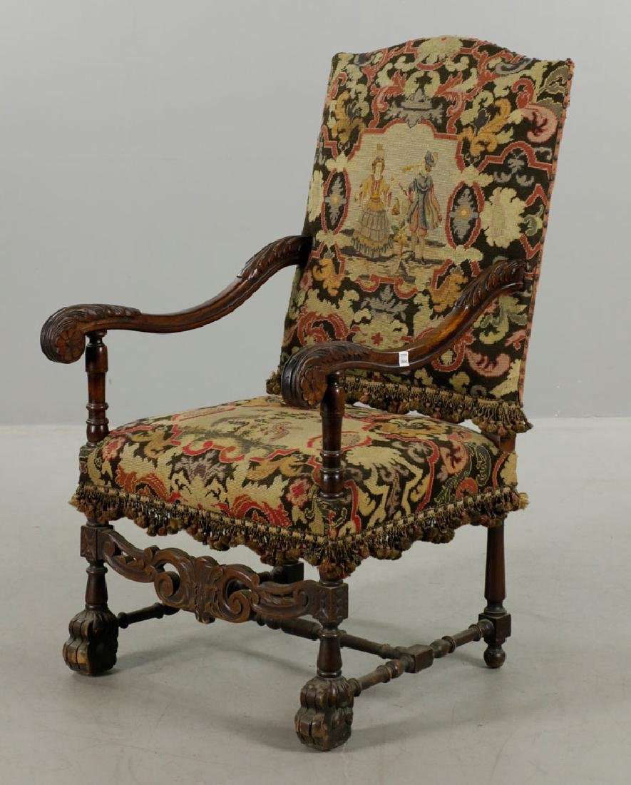 Louis XIV Style Needlepoint Lolling Chair - 5