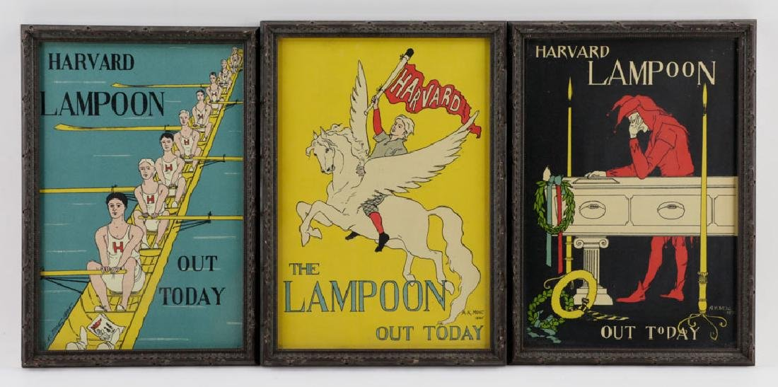 (3) Harved Lampoon Lithos Signed AK Moe, 1895