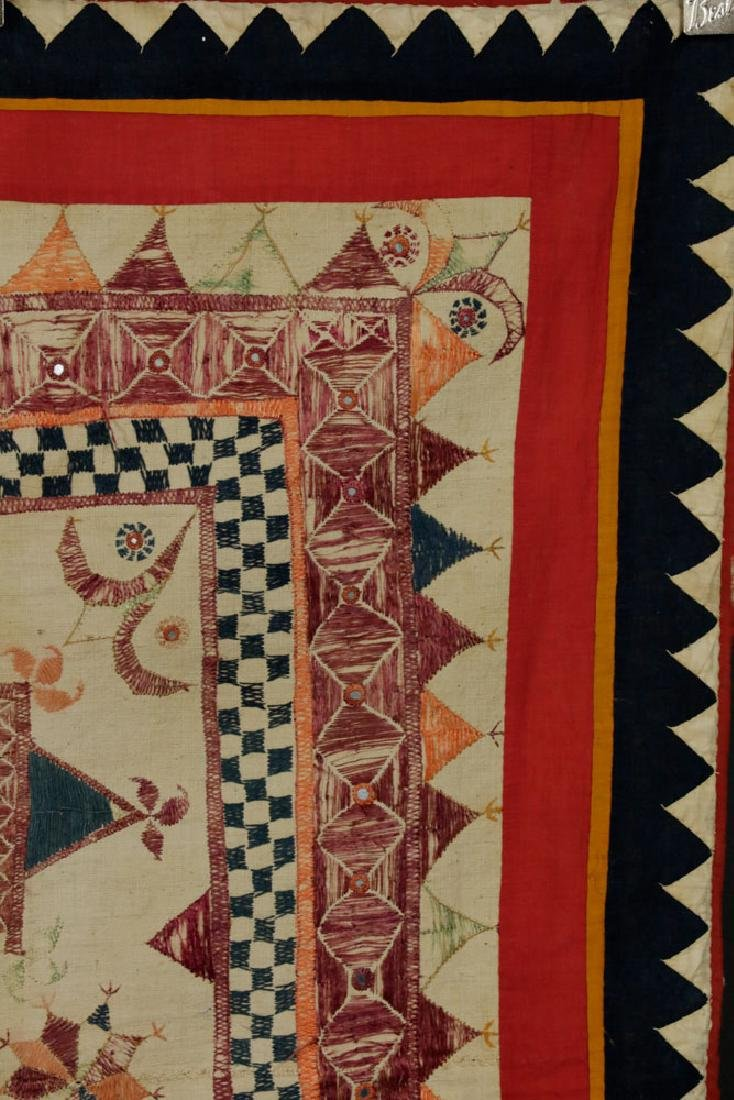19th C. Afghanistan Embroidered Doorway - 4