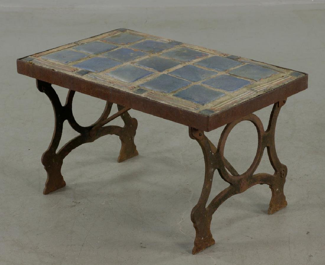 Arts & Crafts Period Blue Tile-top Table