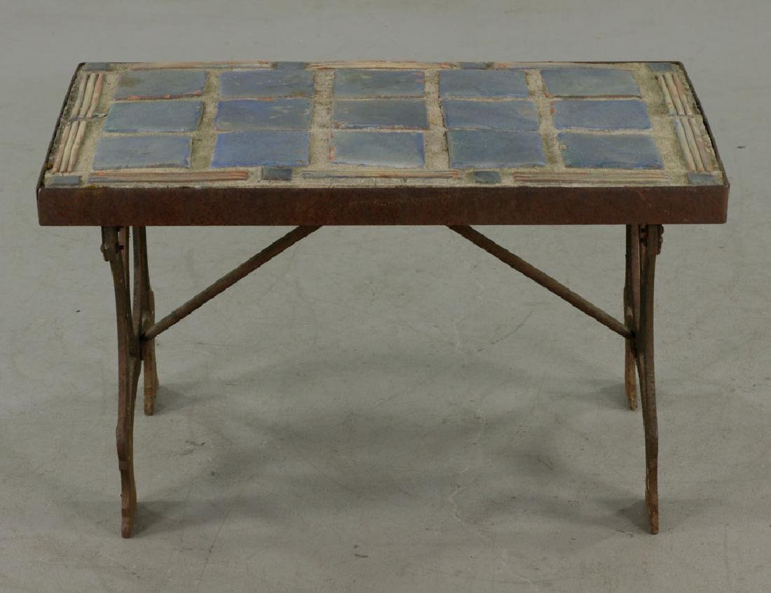 Arts & Crafts Period Blue Tile-top Table - 2