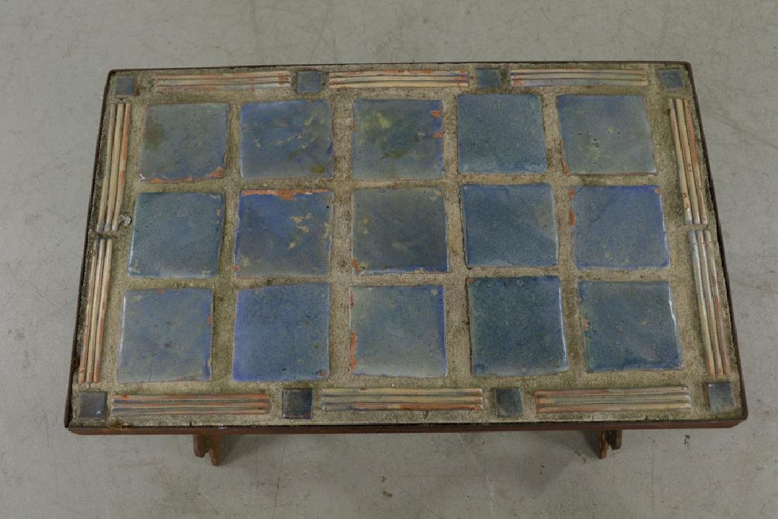 Arts & Crafts Period Blue Tile-top Table - 3