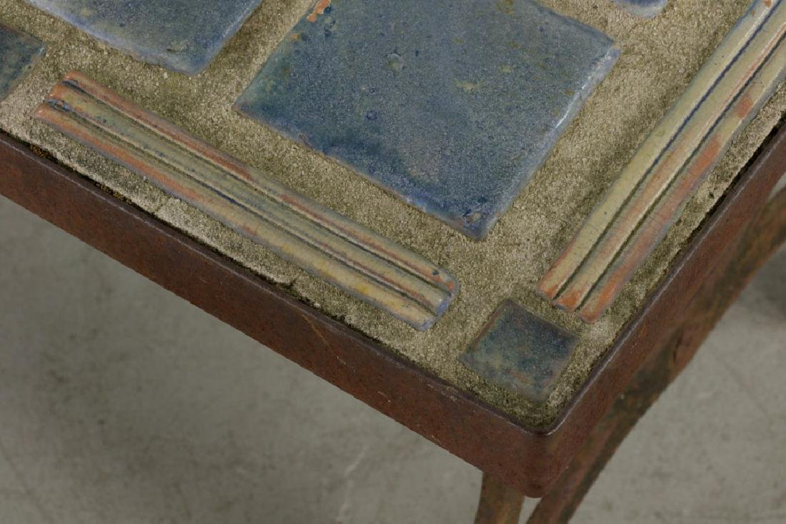 Arts & Crafts Period Blue Tile-top Table - 4